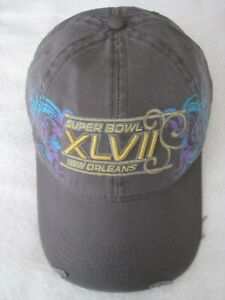 SUPER BOWL XLVII HAT 2013 NEW ORLEANS BALTIMORE RAVENS NFL FOOTBALL CAP GREY
