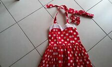 Teen beach polka dot girl dress, size 8,  with matching headband, girl hair ties
