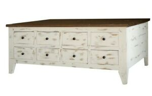 Cocktail table or coffee table with 8 drawers & hinged top storage on other side