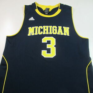 Michigan Wolverines Basketball Jersey Adidas #3 NCAA College MENS LARGE