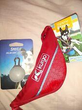 kurgo zippy travel bowl blue + red comes with spotlit collar light