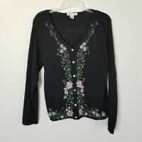 Arriviste Large Women Vintage Black Beaded Floral Cardigan