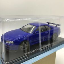 Nissan Skyline GTR BNR34 1999 Blue 1/24 Big Scale Box Mini Car Display Diecast