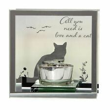 Mirror  Tea light - All You Need is Love and a Cat t-lite Candle Holder