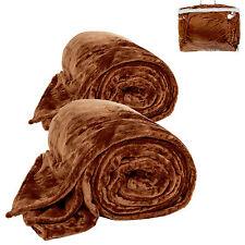 2x Couverture de jour polaire douillette Plaid 220 x 240 cm brun avec sacoche