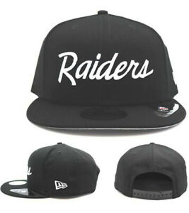 Las Vegas Raiders New Era 9Fifty Basic Black White Script Snapback Hat NFL