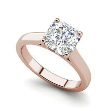 Solitaire 0.5 Carat VS1/D Cushion Cut Diamond Engagement Ring Rose Gold