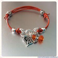 Orange Leather Sacral Chakra Emotions Bracelet - Silver heart & Angel Charm