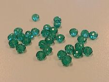 Transparent Glass Beads, Faceted, Abacus, Sea Green, 4x3mm; Hole 1mm Qty 30