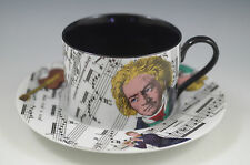 Vtg Fitz & Floyd Divertimento Cup And Saucer Set -Music Notes-Beethoven, Rare