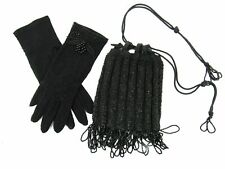 New listing Beautiful Antique Victorian Black Draw-String Beaded Mourning Purse and Gloves.
