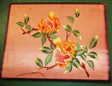 Vintage Hawaiian silk hemp cotton embroidered Kossu panel fine stilted guava