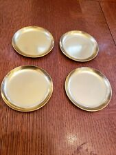 Set of 4 Vintage Retro Aluminum Metal Barware Gold Coasters 3 1/2 inches