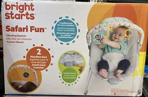 Bright Starts Safari Fun Vibrating Bouncer w/ 2 Playtime Toys