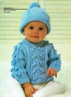 Baby hat & jumper DK, knitting pattern, sizes 0-3 & 3-6 months. boy / girl.