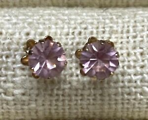 14kt Solid Yellow Gold Vintage Pink Quartz Earrings Jewelry 0.51 gram #F299