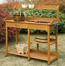 Garden Bench Outdoor Patio Potting Planting Table Sink Workstation Light Oak New