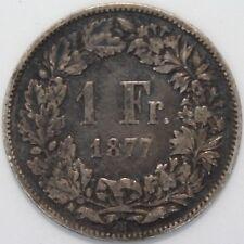 1877 B   Switzerland 1 Franc   Silver   Coins   KM Coins