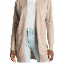 Womens Sweet Romeo XS Heather Latte Taupe Pockets Cardigan Duster Chic Sweater