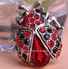 Silver Crystal Red Ladybug Pin Brooch Plated Red Black Crystals Insect Lady Bug