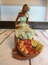 JAMAICA ART POTTERY WOMAN WITH FRUIT BASKET SCULPTURE FIGURINE RARE EUC