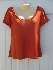 L SLINKY ORANGE RUFFLED SCOOP NECK SHORT SLEEVE TOP BLOUSE LARGE NEW