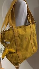 Kipling ADARA M Yellow Nylon Tote Travel Gym Shopping Shoulder Bag Purse NWT New