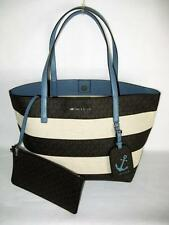 MICHAEL KORS Lightweight ILLUSTRATIONS BLUE LEATHER CANVAS LOGO LG TOTE NWT $298