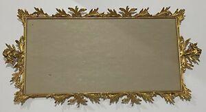 Vtg Art Nouveau Gold Gilt Ormolu Ornate Cherub Frame Vanity Tray