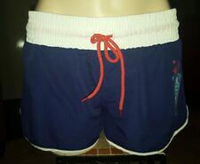 WOMENS Sz M blue white & red AUSTRALIAN mini shorts LOVELY! ELASTIC WAIST!