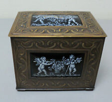 19th C FRENCH BRONZE DRESSER BOX LIMOGES ENAMEL ON COPPER INSERTS with CHERUBS