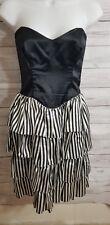 Vintage Gunnie Sax Jessica McClintock Sz 3 Black White Stripe Strapless Dress