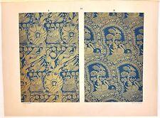 Stampa antica DECORAZIONI TESSUTI STOFFE Tav 53 cigni 1883 Old antique print