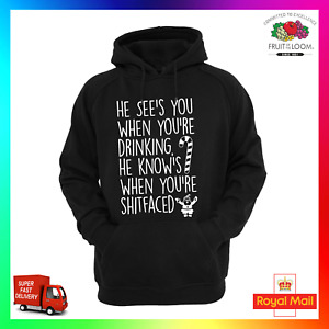 Santa Coming To Town Rude Hoodie Hoody Hoodie Christmas xmas Drinking Shitfaced