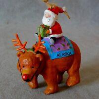 "Christmas Ornament Ceramic Animal ALASKA MOOSE Dangle Long 6"" USA SELLER"