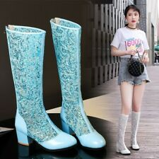 New Women Sandal Shoes Hollow Out Knee High Boots Lace Block Heels Casual Plus