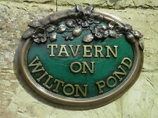 Country Roses oval house name & number sign. Cold cast in bronze and pewter