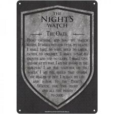 NEW OFFICIAL SMALL TIN METAL WALL SIGN GAME OF THRONES NIGHTS WATCH THE OATH