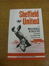 24/08/1968 Sheffield United v Millwall  (results filled in). Thanks for viewing