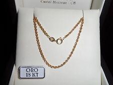 Collana lunga cm 70 funetta intrecciata UNISEX in oro Giallo 750 18 kt New