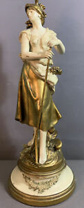 Vintage FRENCH Fabrication Francaise LADY Old GARDEN RAKE Sculpture STATUE LAMP