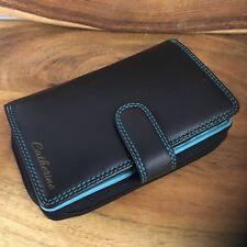 Visconti Ladies Medium Soft Leather Black/aqua Purse Wallet 16 Card Slots Cd22