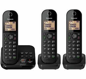Panasonic KX-TGC423EB Triple Cordless Telephone with Answer Machine - Black