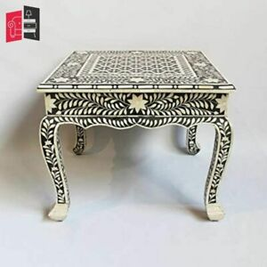 Bone Inlay Living Room Furniture Black and White Bedside Table MADE TO ORDER)