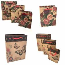 Pack of 6 Natural Brown Floral Butterfly Print Gift Bags wholesale Christmas