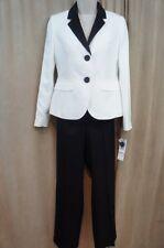 Le Suit Petite Pant Suit Sz 4P Vanilla Ice Black Evening Cocktail 2 PC Suit