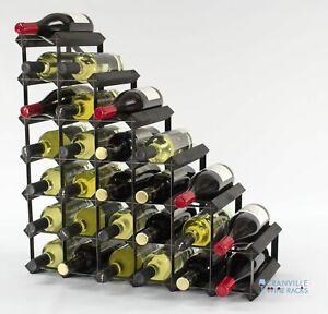 Cranville wine rack storage 27 bottle black stain wood and black metal assembled