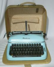 "Vintage Optima ""Super"" Elite 3 Portable Typewriter Blue w/ Case Made in Germany"