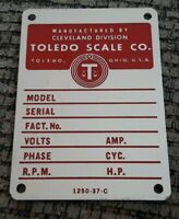 Manufactured By TOLEDO SCALE Cleveland Division METAL TAG INFO PLATE vintage NEW