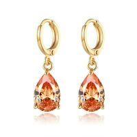 New Retro Style 18K Gold Filled Champagne Swarovski Crystal Lady Dangle Earring